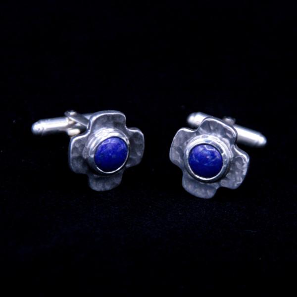 Boutons de manchette argent et lapis lazuli