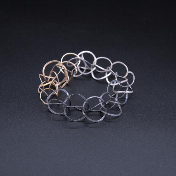 Bracelet argent plaqué or et argent oxydé