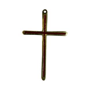 Croix murale en bronze émaillé rouge