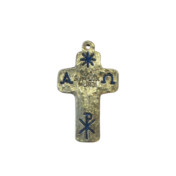 Croix en bronze émaillé bleu