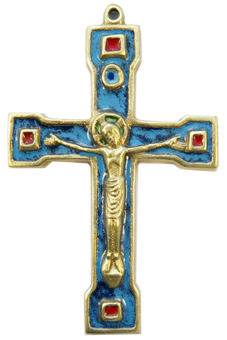 Crucifix mural en bronze émaillé