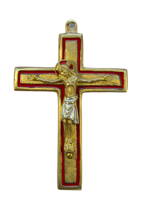 Crucifix mural en bronze émaillé 2